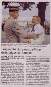 Jacques Remiat, promu à la légion d'honneur